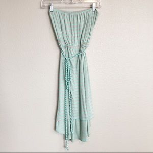 Neutral Grey & Turquoise Strapless High Low Dress